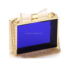 Online Colorful Acrylic Transparent Clutch Bag Evening with bow (CREB33)