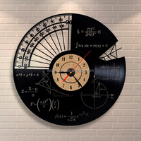 Customized Wall Mounted Vinyl Records Wall Clock Math Themes Acrylic Wall Clock for Home Decoration