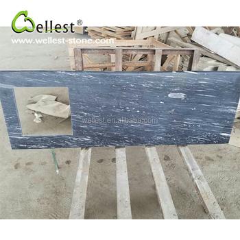 Naturliche Blaue Marmor Poliert Oberflache Erleichterter Rand