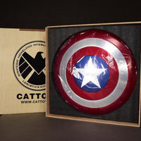 [Metal Made] CATTOYS 1:1 America Soldier Shield Collection Prop Perfect Version With Wooden BOX