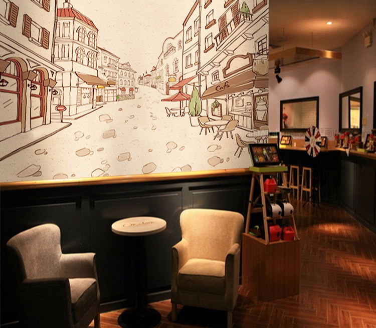 Exceptional Large Wallpaper Living Room Coffee Shop Restaurant Leisure Center  Background Wallpaper Decorative Wallpaper For Bar Part 32