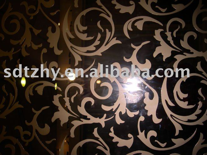 stereo acid etched color mirror with patterns ,decrative glass