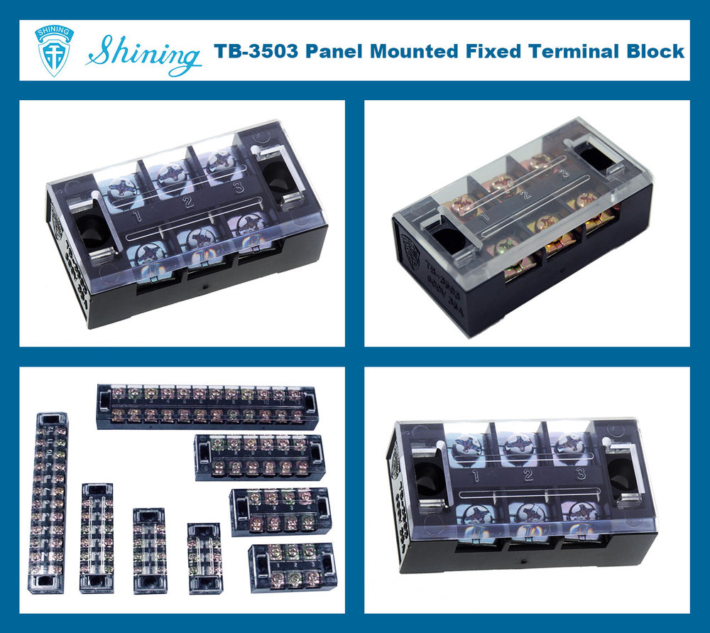 TB-3503 600V 35A Fixed Barrier Shorting Three-Phase Terminal Block