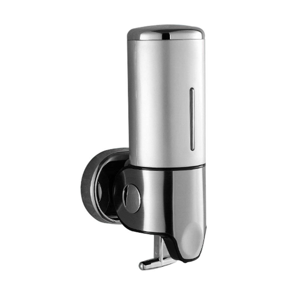 Soap dispenser, wall-mounted soap dispenser hotel hand sanitizer bathroom bath liquid box stainless steel soap dispenser (Color : Silver, Size : 12.221.4cm)