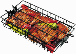 Non-Stick Flat Spit Rotisserie Grill Basket