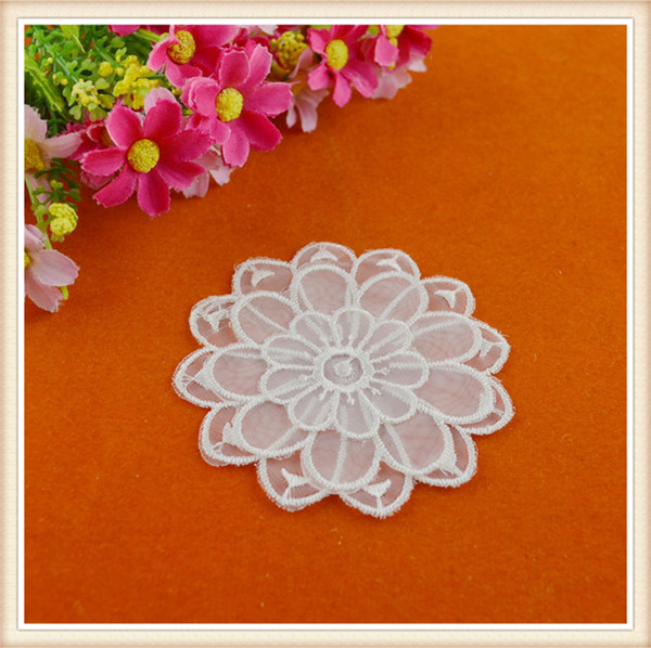 good quality white organza embroidery lace applique in flower design for garment wholesale