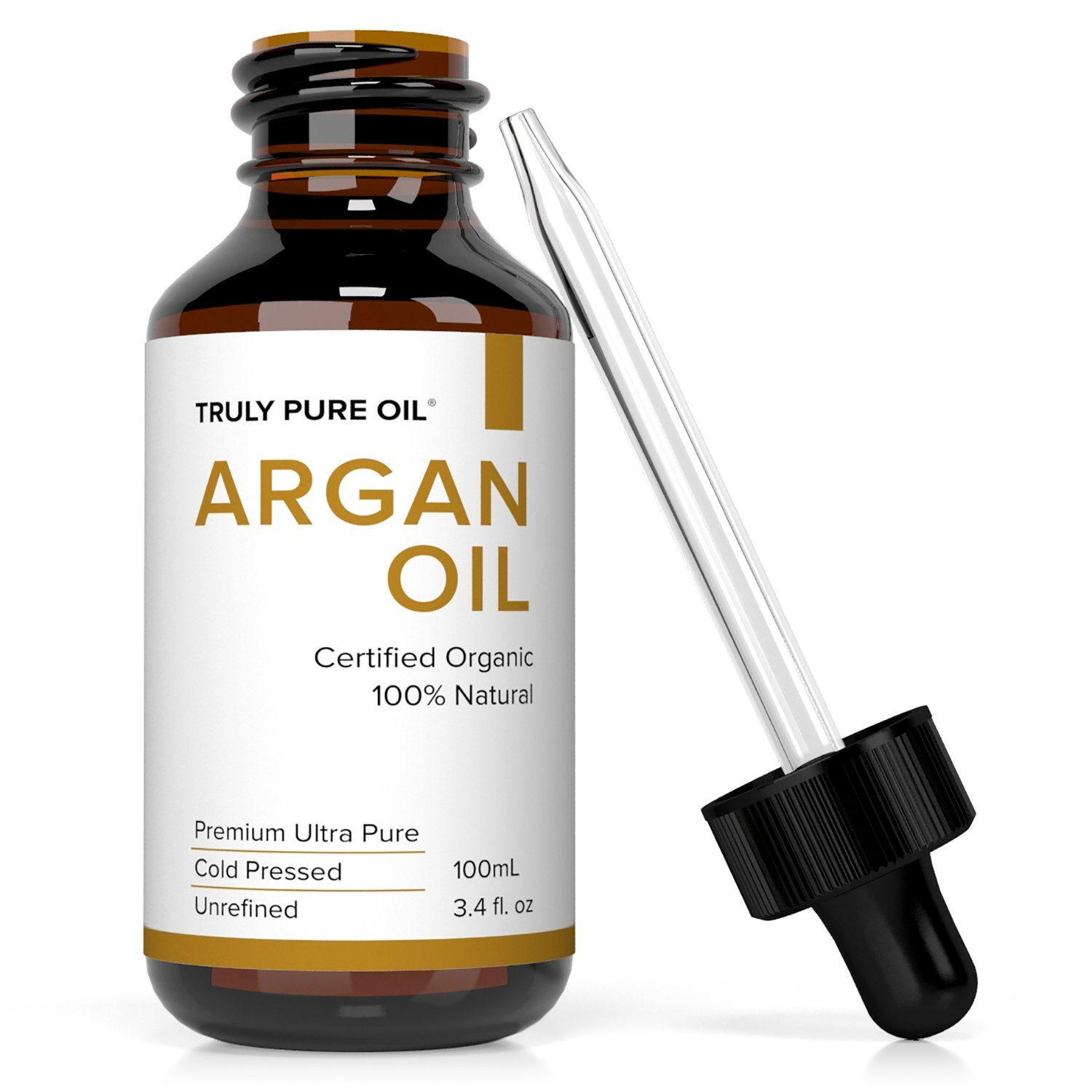 TRULY PURE OIL Moroccan Argan Oil 100% Pure, Cold Pressed, Virgin, Unrefined, Eco Cert & USDA Certified For Skin, Face, Hair, Nails, Dry Lips & Feet | The Anti-Aging, Anti-Wrinkle Beauty Secret (2oz)