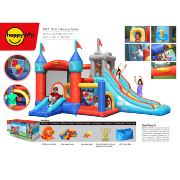 Happy Hop bouncy castle 9021--multi-function 13 in 1 Bouncy Castle,Specially designed, British Style swiftech bouncer