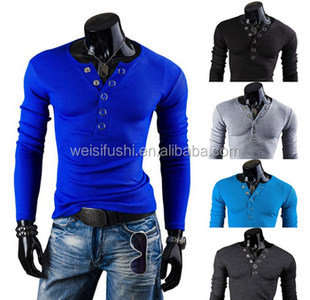 New arrival men's long sleeve t shirt made in China/custom high quality man garment