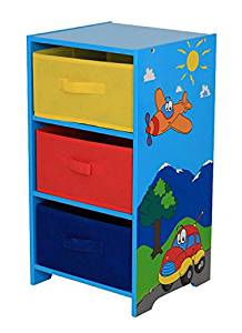 Get Quotations · Home Basics 3 Drawer Kids Storage Shelf, Airplanes/Cars  Design