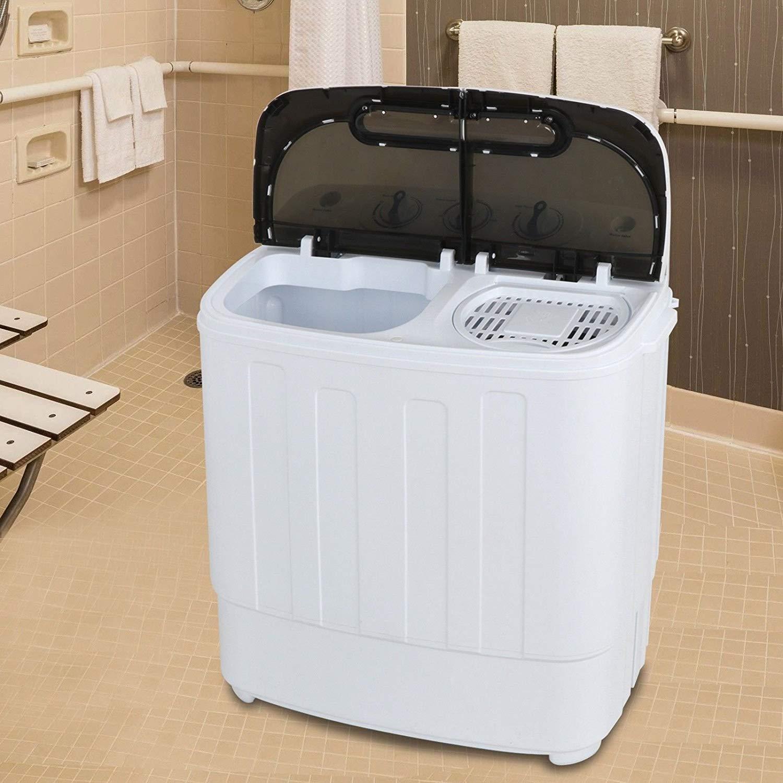 Generic Machine Compact Portable Mini Washing e Mini Washi Twin Tub ach Washer Spin win Tub Machine Compact r Spi Dryer White