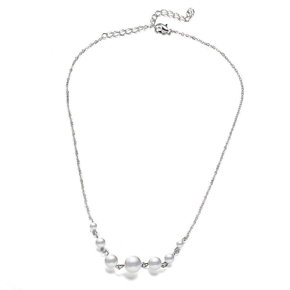 "PORPI-JOJO Simple Fashin Jewelry Women Girl's Summer Beach Fake Pearl Necklace Peandant 18.5""-21.3"""