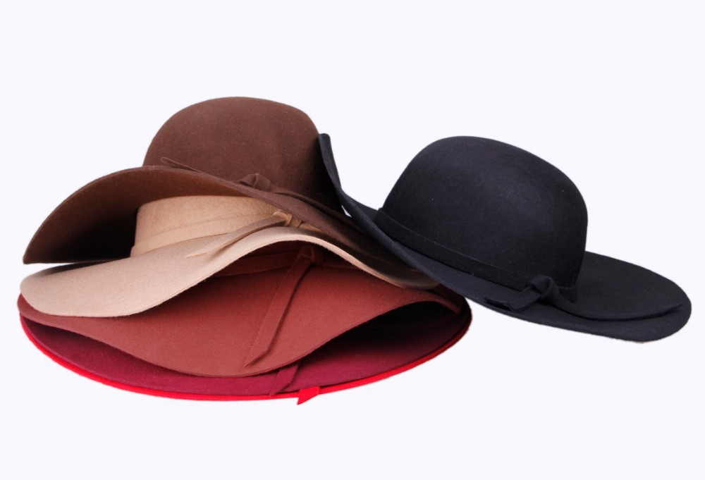 5fa152e3 Get Quotations · Wool Felt Crushable Summer Sun Beach Wide Brim Ladies  Floppy Hat For Women 2015 New Arrival