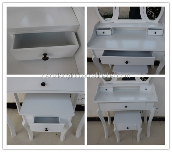 2017 Hot Sale Mirrored Dressing Table with Stool