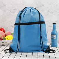 Factory Supply Cheap Prices Polyester Drawstring Nylon Bag Promotional Trendy Gym Bags With Zipper Pocket