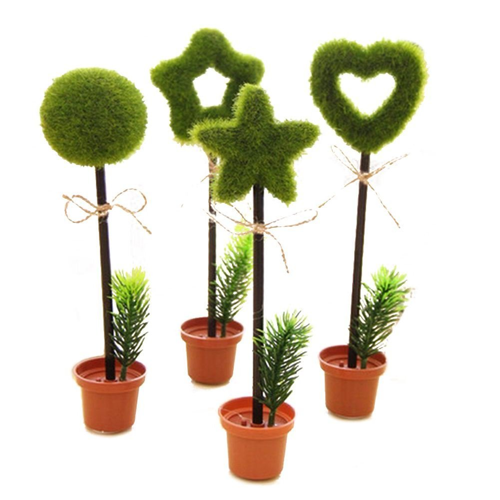 SODIAL(R) 8 Pcs Cute Cool Potted Flower Plant Shape Personalized Promotional Ballpoint Pens Office School Supplies Students Children Gift