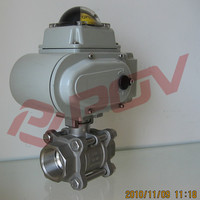 1/2inch Thread electric 3 pc ball valve 24v china manufacturer