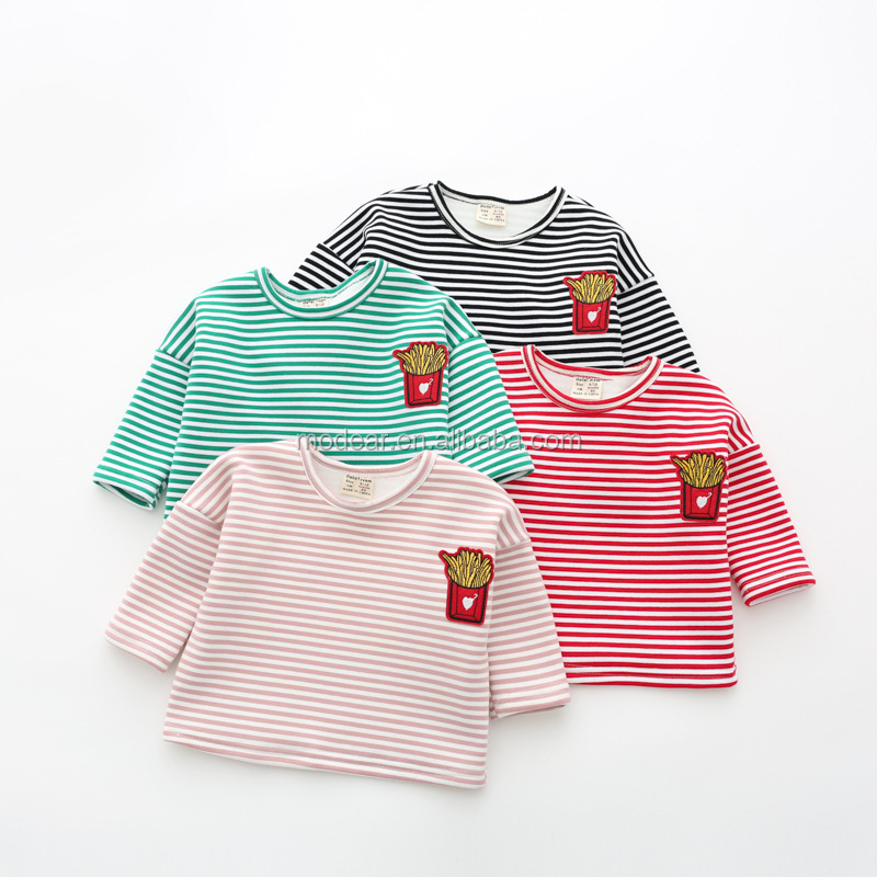 Spring&winter children cotton tops lovely pattern stripe printed cashmere lining warm outfit baby girl long sleeves t shirt