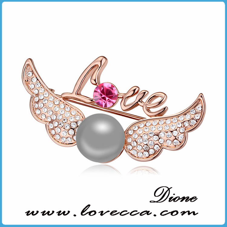 Elegant fancy brooch design,christmas pearl rhinestone brooch