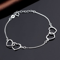 Big & Small Heart White Gold Plated Silver Bracelet With Fake Diamond For Womens