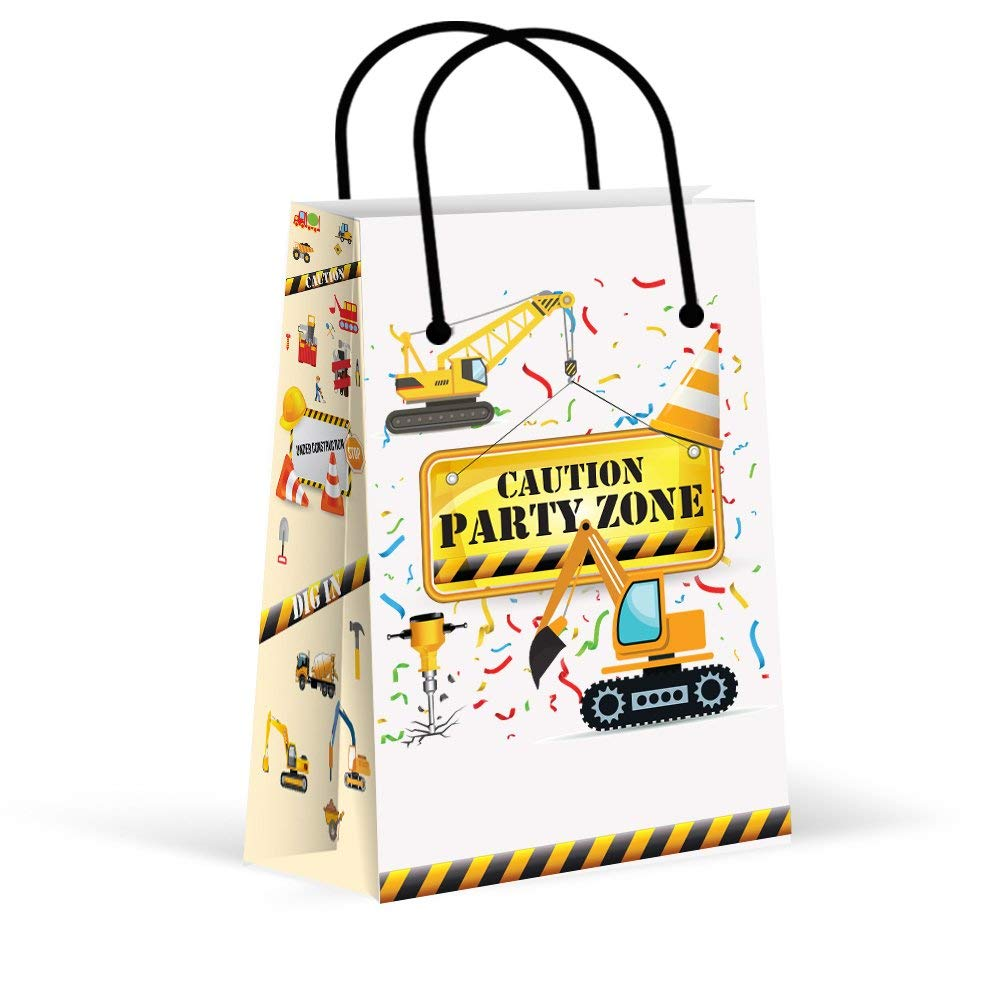 LARZN Premium Construction Party Bags, Boys Party Favor Bags , New, Treat Bags, Gift Bags ,Goody Bags,Construction Party Favors, Construction Party Supplies, Decorations, 12 Pack