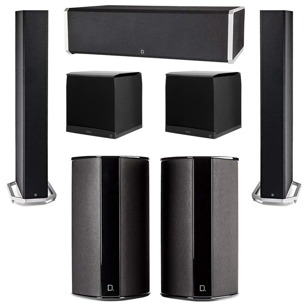 Definitive Technology 5.2 System with 2 BP9060 Tower Speakers, 1 CS9060 Center Channel Speaker, 2 SR9080 Surround Speaker, 2 Definitive Technology SuperCube 8000 Powered Subwoofer