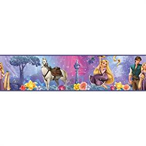 """RoomMates Combo Deal: (4) Pack - Disney Tangled - Rapunzel Peel & Stick Border (5"""" High by 15' Long Per Pack = 60 Total Feet Long!) and (1) Disney Tangled - Rapunzel Giant Peel & Stick Wall Decal - SAVE ON BUNDLING!"""
