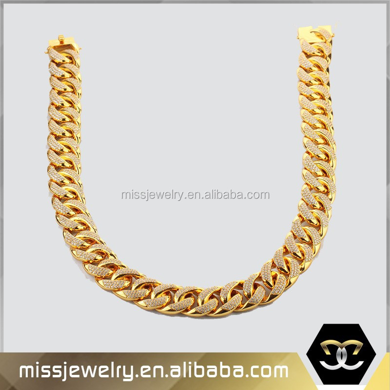 cheap wholesale custom made long large gold cuban link chain with cz stones