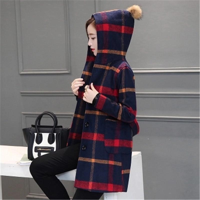 New Autumn font b Winter b font 2016 Women Fashion Elegant Woolen Hooded Jacket Plaid Loose