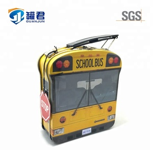 Little Bus Shaped Metal Tin Tote For Kids