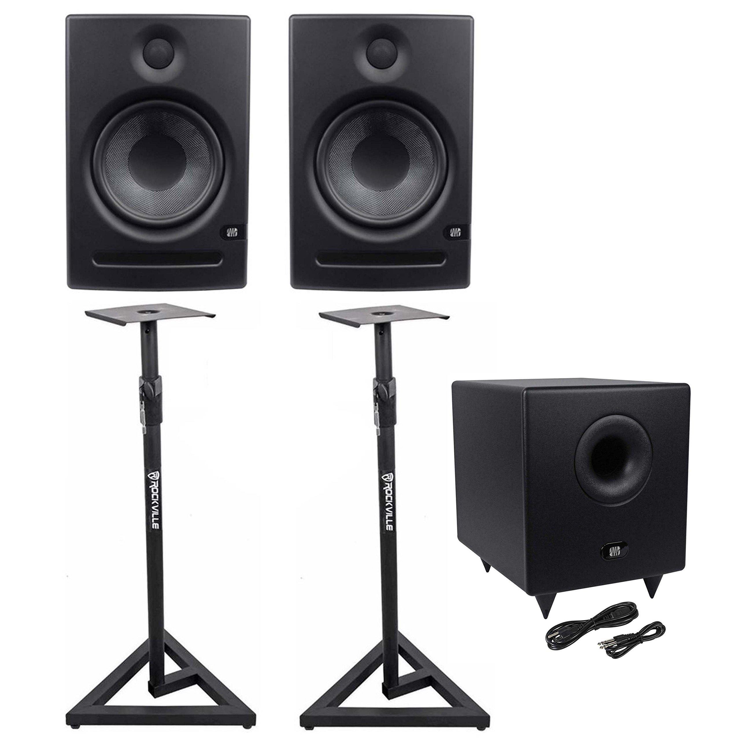 """Package: (2) Presonus Eris E8 8"""" High-Definition 2-Way Active Near Field Studio Monitors With a 1"""" Silk Dome Tweeter + Pair of Rockville RVSM1 Heavy Duty Near-Field Studio Monitor Stands + Presonus Temblor T8 200 watt 8"""" Active Powered Studio Subwoofer with Crossover"""