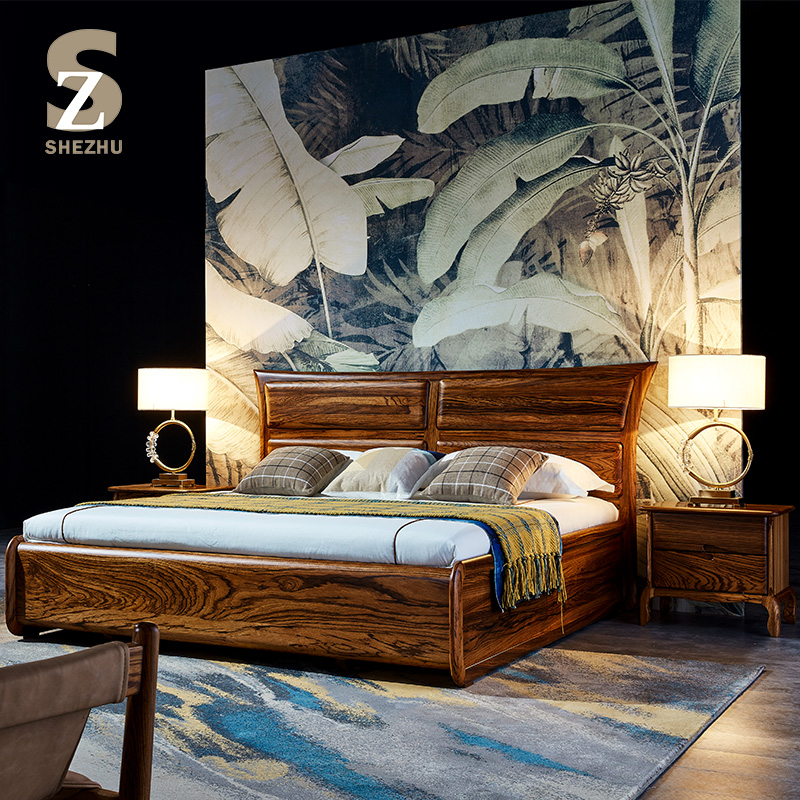 Zebra Wood Storage Bed In Wood With Storage Box Modern Style Zebra