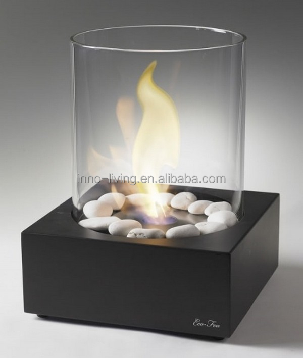 Free standing round glass fireplace, ethanol fuel