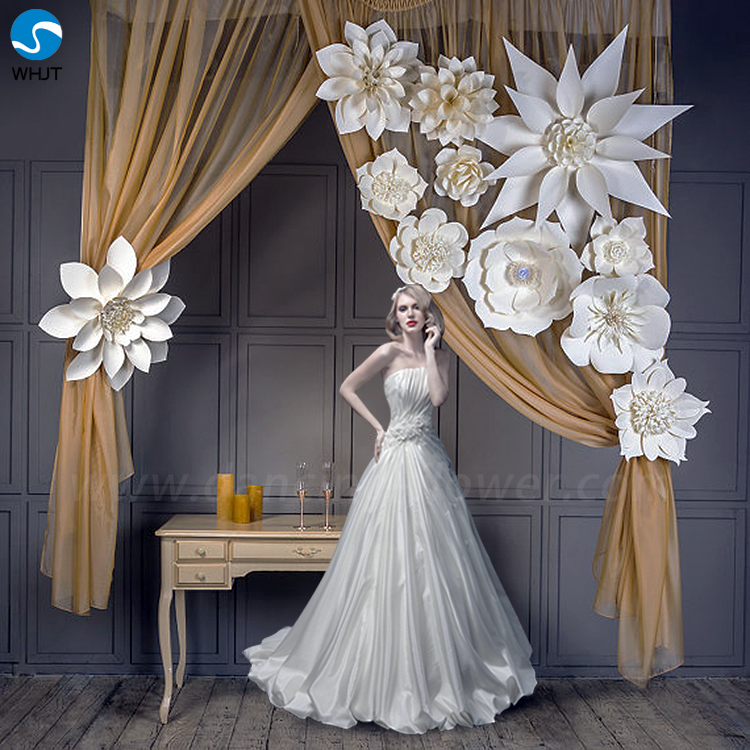 Decorative wedding ivory giant handmade wedding decoration paper <strong>flowers</strong>