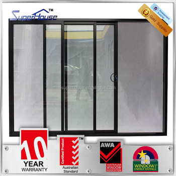 Australia Standard Three Panel Tracks Sliding Glass Doors/3 Panels Sliding  Door