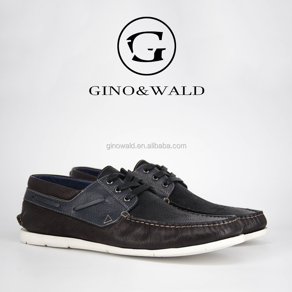 shoes leather amp;WALD soft fashion men handmade style boat latest GINO zYdqq