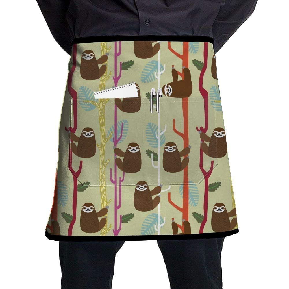 White Apron, Mens Hairstylist Aprons With Pocket, Cooking Aprons For Women Kitchen, Kitchen Accessories, Cute Funny Sloths Climbing Trees