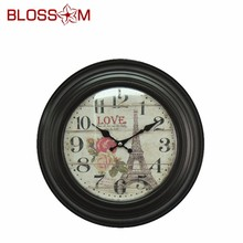 Paris Eiffel Wooden Frame Decorative Shabby Chic wall clock