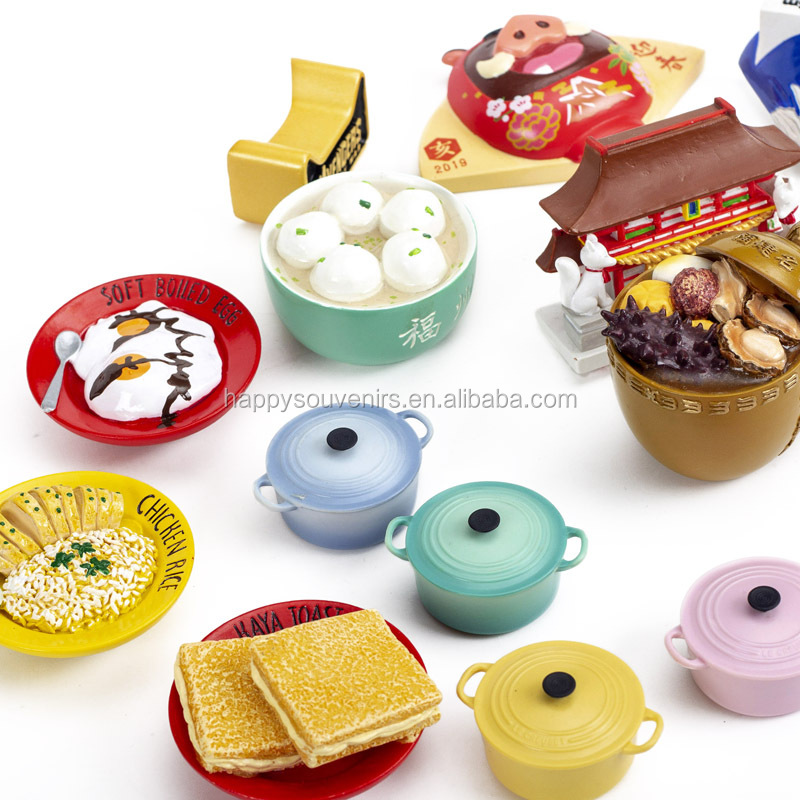 New Products Release Hotsale Custom Afternoon Tea 3D Food Sublimation Resin Fridge Magnets For Home Decor