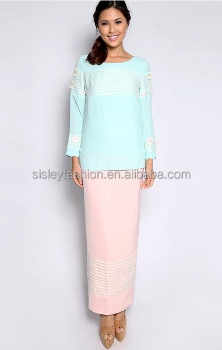 2016 Latest Fashion Lace Design Baju Kurung Modern Baju Kurung ...