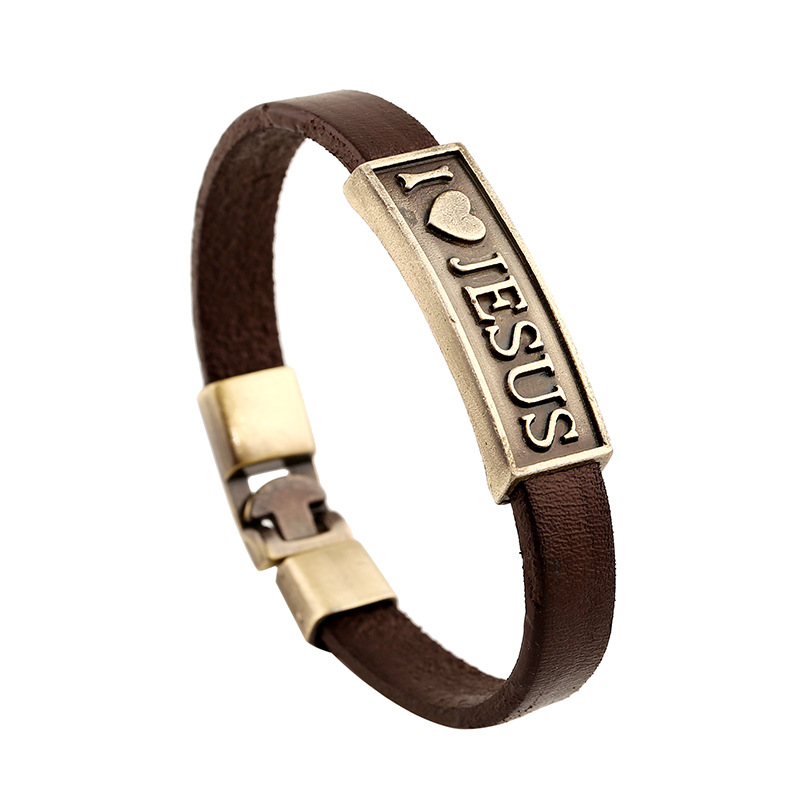 Vintage Jewelry Customized Accessories Engraved God Bless Leather Bracelets Wholesale Men's Bangle