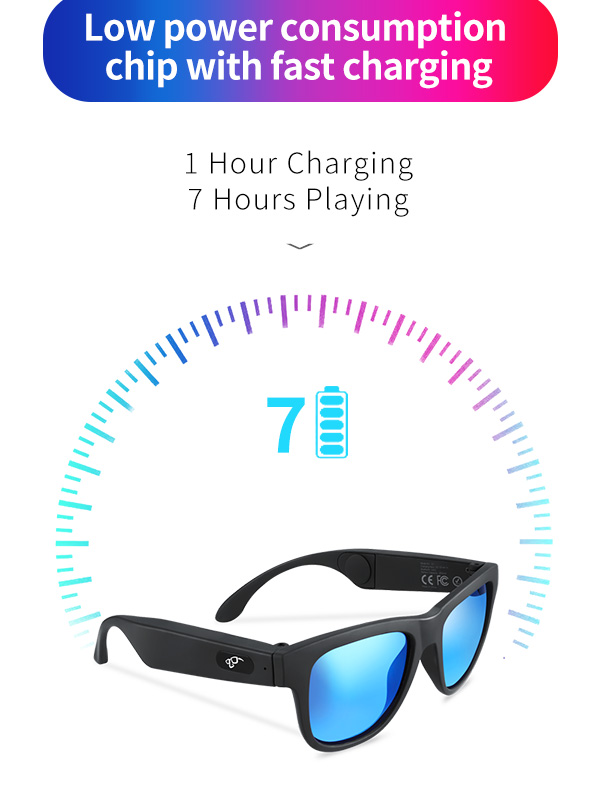 Open Ear Bone Conduction Speaker Sports Polarized Frame Wireless Smart Stereo Sound Audio Music Bluetooth Sun Glasses