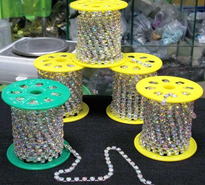 0516l 10 yards een roll goedkope strass cup keten strass roll ketting trimmen groothandel - Loodvrije kristal ...