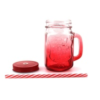 Portable Hot and Cold Drink Bottle 450mL Square Glass Blue Red Purple Pink Cute Mason Jar