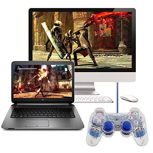 3 colores transparente LED PC con cable USB GamePad de vibración doble Joystick controlador de juego para PC portátil