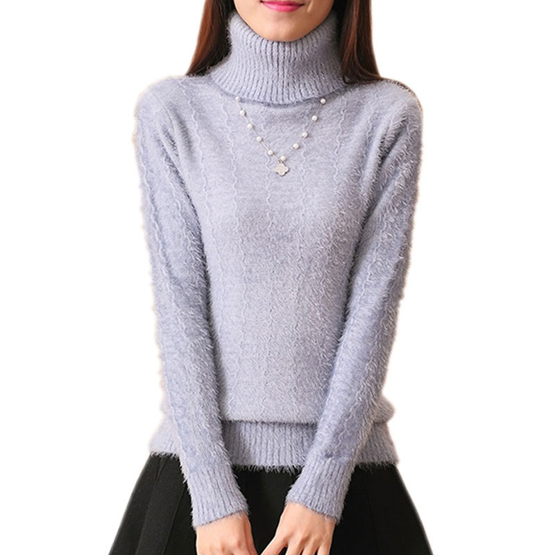 Get Quotations · 2015 Winter Warm Mohair Turtleneck Tops Women Sweater And Pullover  Long Sleeve Knitted Sweaters 3 Colors 665ed841f