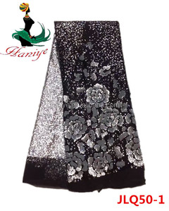 Haniye JLQ50-1black+white Latest Tulle Lace fabric Mesh/ Embroidery Fabric With Sequins with crocheted trimming
