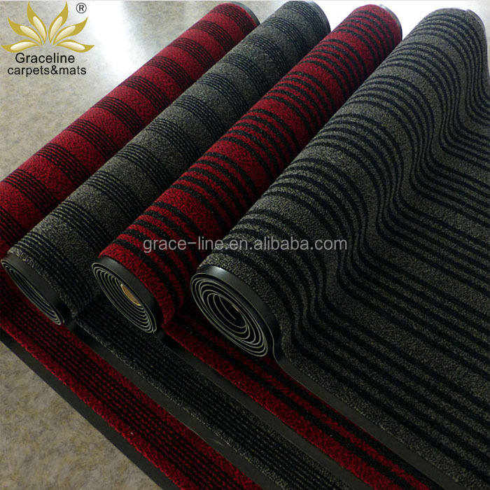 hot sales Waterproof rubber door mat pp cut pile non slip door mat