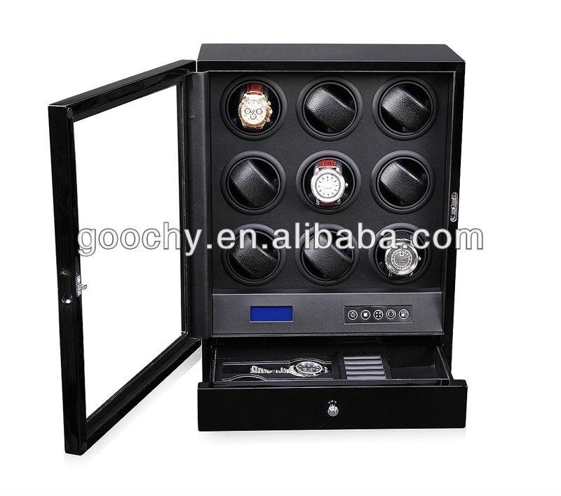 Quality Wooden(MDF) 9 Rotors Silent Watch Winder for RLX with LED Light LCD Display Remote Control