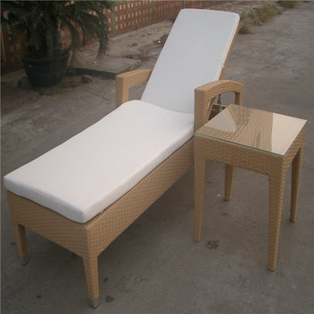 Rattan Swimming Pool Bench Chair With Side Table YPS065